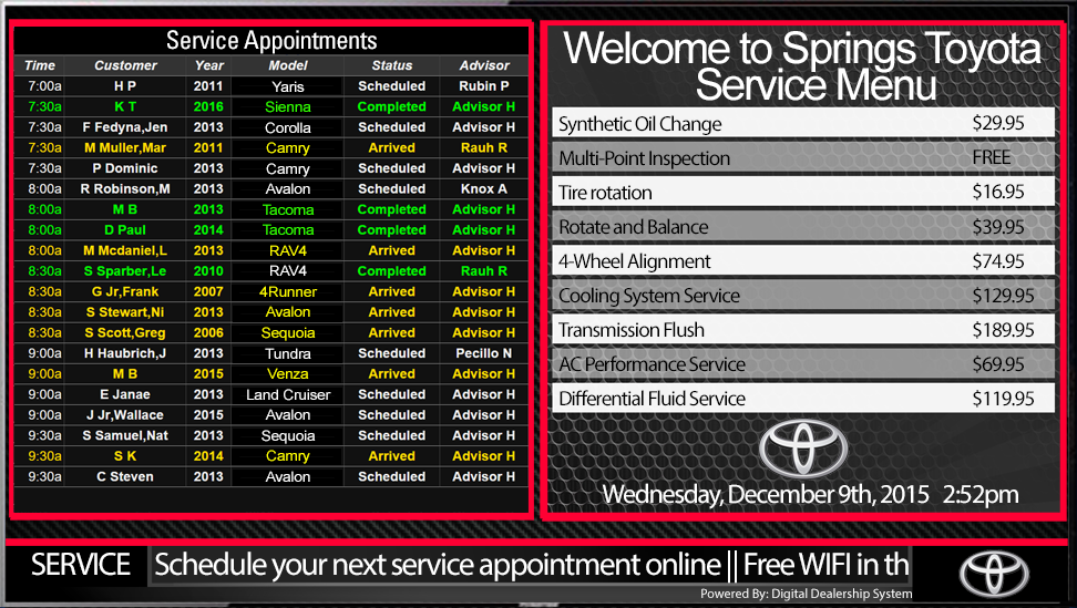 kia service appointment menu sign